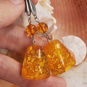 Amber Silver Earrings Teardrops